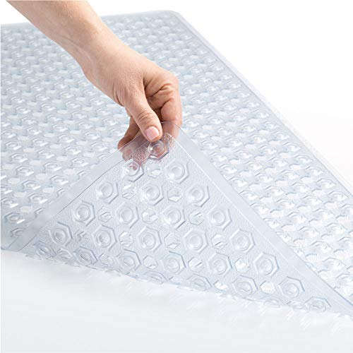 GORILLA GRIP Original Patented Bath, Shower, Tub Mat, 35x16, Machine Washable, Antibacterial, BPA, Latex, Phthalate Free, Bathtub Mats with Drain Holes, Suction Cups, XL Size Bathroom Mats, Clear