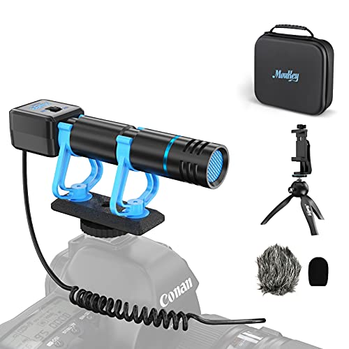 Moukey Smartphone Camera Video Microphone Kit, with Monitoring Function, Mini Tripod,IP4 Waterproof Box,External Video Shotgun Mic for iPhone, Phone,DSLR/Canon/Nikon/Sony Camera -Perfect Vlogging