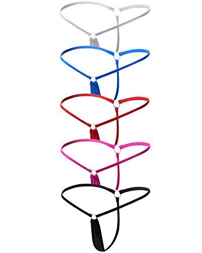 ETAOLINE Women's Low Rise Sexy Underwear Y-Back G-String Lingerie Thong Panty (Large, 5 Pack (5 Colors))