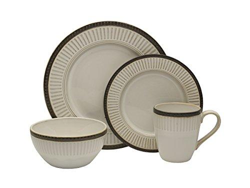 Pfaltzgraff Promenade Column 16-Piece Stoneware Dinnerware Set, Service for 4