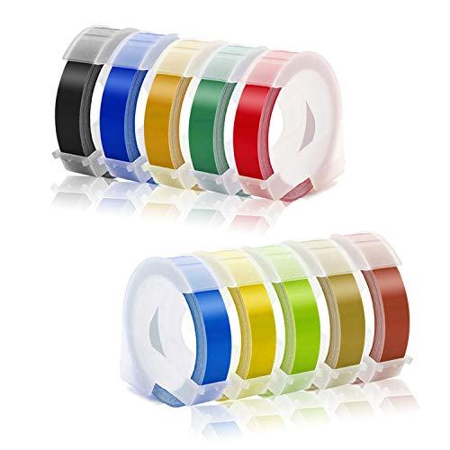 Embossing Label Compatible with Dymo Embossing Label Maker, 3/8'' x 9.8' Colorful 3D Plastic Organizer Xpress Tape Compatible with Dymo Embossing Office Mate II and Old School Label Makers