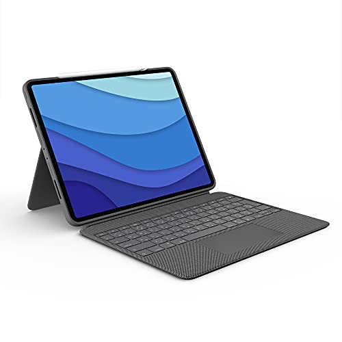 Logitech Combo Touch iPad Pro 12.9-inch (5th gen - 2021) Keyboard Case - Detachable Backlit Keyboard with Kickstand, Click-Anywhere Trackpad, Smart Connector - Oxford Gray; USA Layout