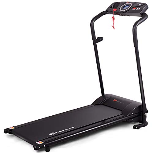 Goplus Compact Folding Treadmill for Home, Electric Walking Running Machine, Low Noise, Built-in 2 Workout Modes and 12 Programs, with Display