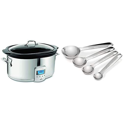 All-Clad SD700450 Programmable Oval-Shaped Slow Cooker with Black Ceramic Insert and Glass Lid, 6.5-Quart, Silver & 59918 Stainless Steel Measuring Spoon Set, 4-Piece, Silver