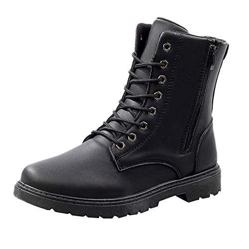 Fheaven Men's Leather Boots Lace Up Boots Mens Combat Boot Autumn Winter British Booties (US:6.5, Black)