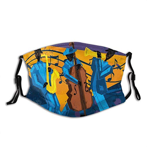 JUCHen Jazz Band A Jazz Band with A Trumpet Player, Bassist, and Saxophonist Reusable Face Shield Dust with 2 Filter Filter Unisex Reusable Fashion Washable Masks