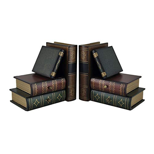 Bellaa Classic Wooden Book Bookends Library W/ Hidden Drawers