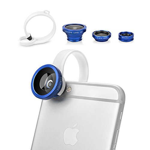 BUTEFO 3 in 1 Camera Lens Kit Fisheye Lens+ 0.67x Wide Angle Lens+Macro Lens for iPhone 6 iPhone 6 Plus iPhone 5/5S/5C&Samsung Galaxy S5 S4 S3 Note 3 Note 2 &HTC One M8 M7&LG G3 G2&Other Mobile Phones