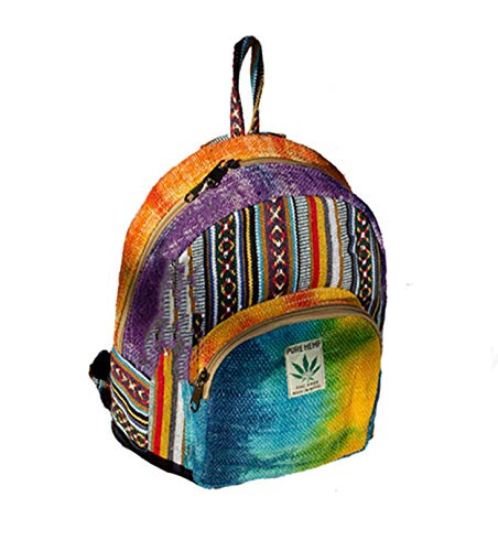 Mini Hemp Backpack   100% Pure Hemp - All Natural Handmade Multi Pocket Backpack   Travel Backpack - For Women and Men   Boho Hippie - Rainbow
