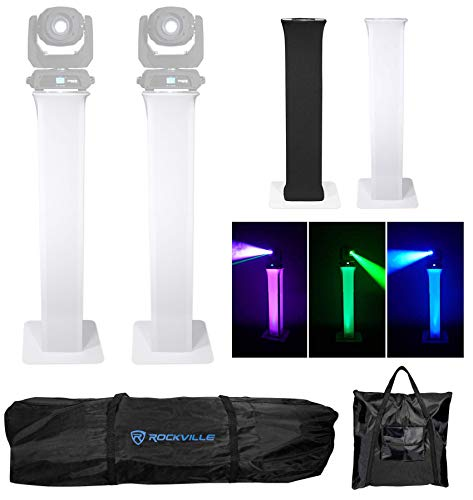 2) Rockville RTP32W Totem Moving Head Light Stands+Black+White Scrims+Carry Bags