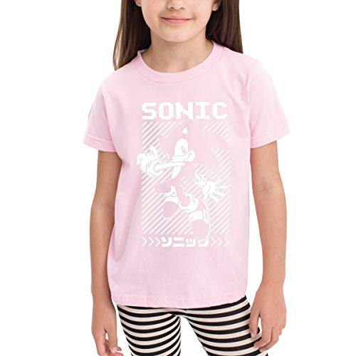 Censu Funny Sonic Hedgehog Printing Crew Neck T-Shirts for Child,Pink 100% Organic Cotton
