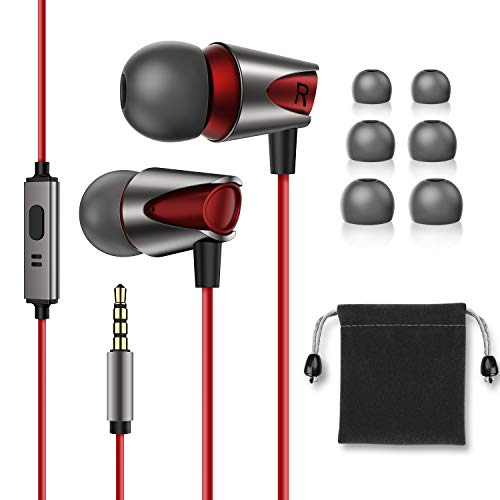 in-Ear Headphones,Hi Res Stereo M17 Wired Earphones Comfortable Tangle Free Earbuds with Deep Bass for iPhone,iPod,Android Smartphones,MP3 Players,Tablets and All 3.5mm Audio Jack-Red