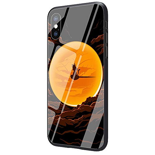 Phone Case for iPhone X/XS, Tempered Glass Back Cover and Soft Silicone Rubber Bumper Frame for Scratch-Resistant and Shock Absorption AM-90 Anime Dragon God