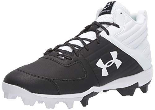 Under Armour Men's Leadoff Mid RM Baseball Shoe, Black (002)/White, 7.5