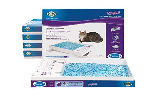 PetSafe ScoopFree Self-Cleaning Cat Litter Box Tray Refills with Premium Blue Non-Clumping Crystals, 6-Pack