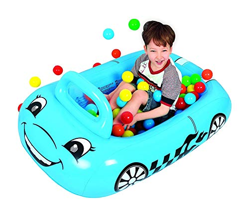 Taylor Toy Car-Shaped Inflatable Ball Pit for Toddlers - Inflatable Playpen for Kids - Includes 50 Multi Colored Balls (Blue)