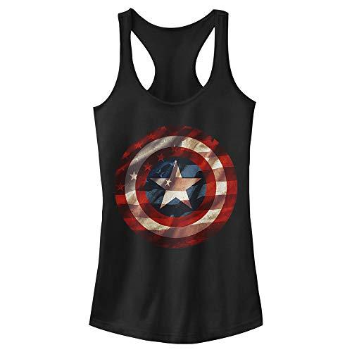 Junior's Marvel Captain America Avengers Shield Flag Racerback Tank Top - Black - X Large