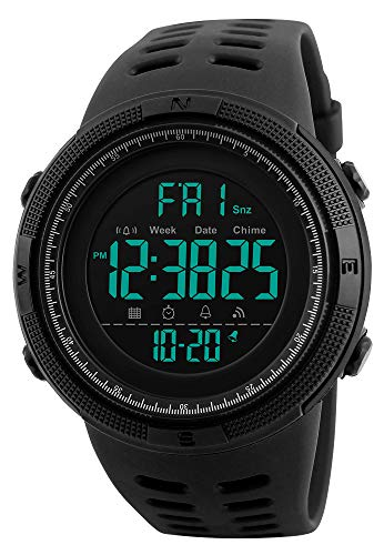 Tonnier Watch Mens Outdoor Sports Watches Multifunction Digital LED Military Dual Time Back Light Stopwatch Waterproof Wristwatches for Man with PU Band(Black)