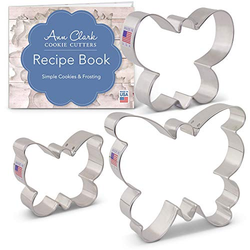 Ann Clark Cookie Cutters 3-Piece Butterfly/Moth Cookie Cutter Set with Recipe Booklet