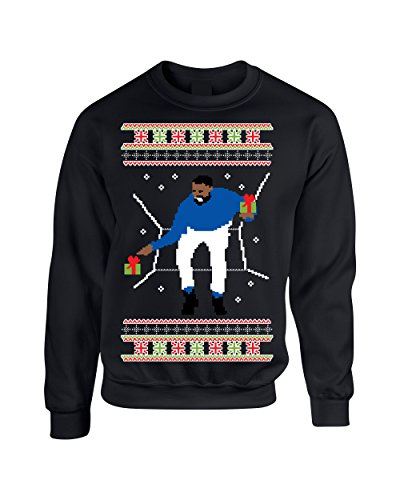 Allntrends Adult Crewneck 1-800 Hotline Bling Ugly Christmas Sweater (2XL, Black)