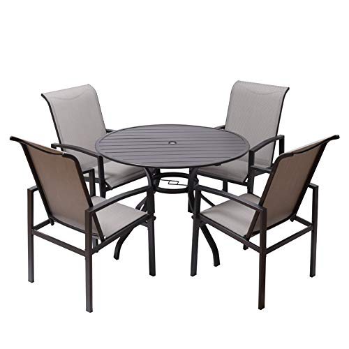 """Fit Right 5 Pieces Outdoor Dining Set Patio Furniture with Metal Slat Finish, Steel Tube 38' Round Dining Table and Patio Chairs with 1'5"""" Umbrella Hole"""