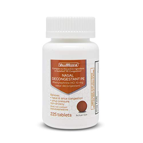 ValuMeds Nasal Decongestant PE (225 Tablets) Non-Drowsy | Phenylephrine HCl 10mg to Relieve Sinus Pressure | Comparable to Sudafed PE Congestion