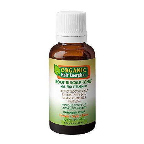 Organic Hair Energizer Root & Scalp Pro Vitamin-B5 Hair Growth Tonic, 1.69 oz   DHT-Blockers, Sulfate-Free & Paraben-Free, Prevent Hair Loss, Thinning & Receding Hair Line   Good For Men & Women