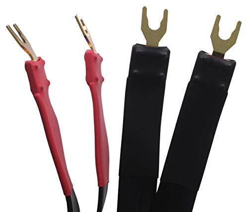 KK Cable K-M-K OFC Flat Speaker Wire, Spade Plug to Spade Plug. K-M-K (2M(6.5ft), 2 Pieces)