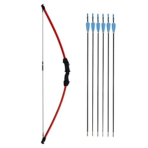 kaimei 45 Inch Recurve Bow Archery Red Limbs for Youth Beginner Practice and Outdoor Shooting Right and Left Hand with 6 Fiberglass Arrows and 2 Target Paper