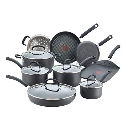 T-fal E765SEFA Ultimate Hard Anodized Nonstick 14 Piece Cookware Set, Dishwasher Safe Pots and Pans Set, Black