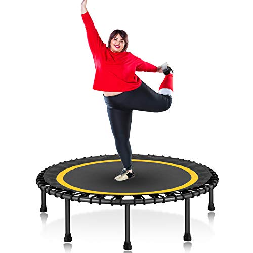 HOMEOW 50' 550lbs Fitness Trampoline for Adults Silent Mini Small Rebounder Trampoline with Bungee Indoor Garden Workout Quiet Exercise Training with Safety Pad 550lbs Weight Limit, Yellow