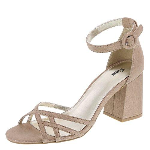 Fioni Champagne Shimmer Women's Konnie Block Heel 9 Regular
