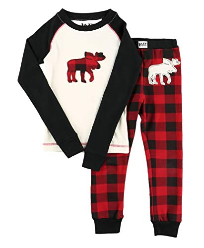 Lazy One Matching Family Pajama Sets for Adults, Teens, and Kids (Moose Plaid, 8)