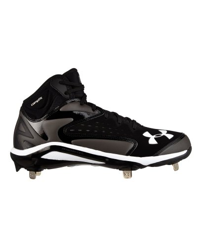 Under Armour Mens Yard Mid Metal Cleats 10 US Black/Charcoal (Black/Grey)