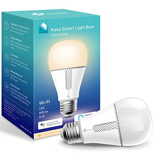 Kasa Smart Light Bulb KL110, LED Wi-Fi smart bulb works with Alexa and Google Home, A19 Dimmable, 2.4Ghz, No Hub Required, 800LM Soft White (2700K), 9W (60W Equivalent)