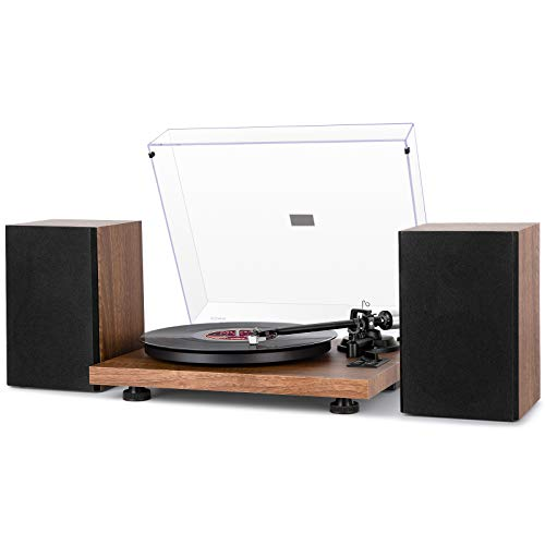 1 BY ONE Wireless Turntable HiFi System with 36 Watt Bookshelf Speakers, Patend Designed Vinyl Record Player with Magnetic Cartridge, Wireless Playback and Auto Off