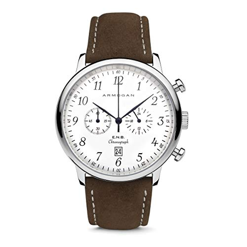 Armogan E.N.B - Silvered Whited C81 - Men's Chronograph Watch Brown Suede Leather Strap