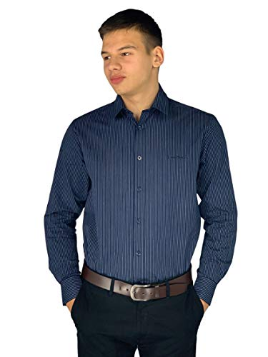 Pierre Cardin Mens Long Sleeve Striped Shirt with Signature Embroidery (Medium, Navy Stripe)