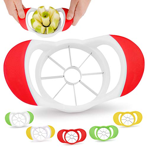 Zulay 8 Blade Apple Slicer - Easy Grip Apple Cutter With Stainless Steel Blades - Fast Usage Apple Corer And Slicer Tool That Saves Time & Effort (Red & White)