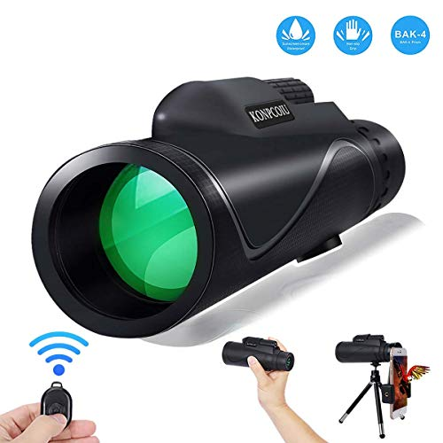 Monocular Telescope,12X50 High Power&HD Monocular with Universal Smartphone Holder and Wireless Remote Control-Waterproof Scope, BAK4 Prism for Bird Watching, Hunting, Surveillance, Hiking