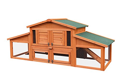 Merax 70' Wooden Rabbit Hutch Indoor Outdoor Pet House Cage for Small Animals with 2 Run Play Area