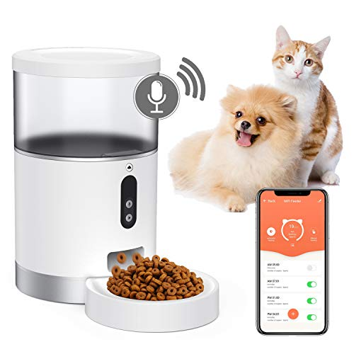 Peteme Automatic Cat Feeder,2.4GWi-Fi Enabled Smart Pet Feeder forCats& Small Pets, App Control, Portion Control, Scheduled Feeding, Voice Recorder, Compatible With Alexa