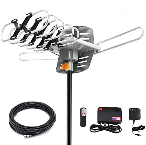 HDTV Digital Antenna -Amplified HD Outdoor TV Antenna150 Miles Range w/ 360 Degree Rotation Wireless Remote - UHF/VHF/1080p/ 4K Ready(Without Pole)