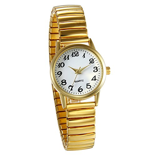JewelryWe Women's Ultra Thin Easy Reader Watch with Elastic Strap, Golden Watch, for Xmas