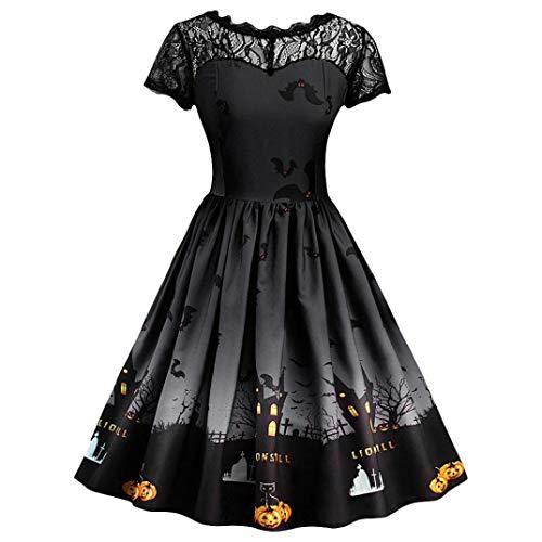 Forthery Halloween Dress, Women Pumpkin Skater Swing Dress A-line Lace Skull Dress(Black,L)
