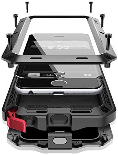 Mangix iPhone 6/6S Case, Built-in Glass Luxury Aluminum Alloy Metal Extreme Bumper Finger Scanner Cover Shell Case Skin for Apple iPhone 6/6S 4.7inch (Black)