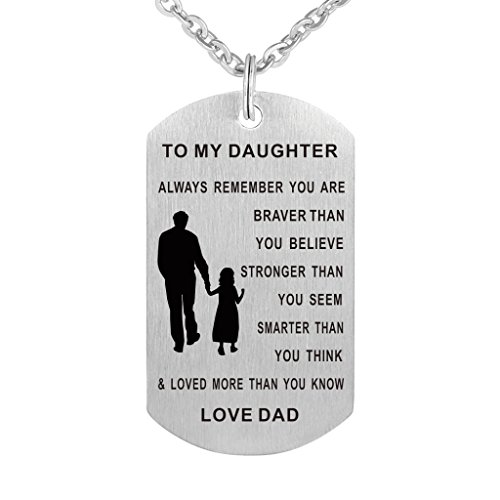 CraDiabh Dad Mom To my Daughter Dog Tag Pendant Necklace Military Jewelry Personalized Custom Dogtags Love Gift (Dad daughter(braver stronger smarter))