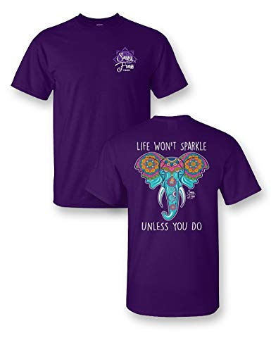 Sassy Frass Life Won't Sparkle Unless You Do Elephant T-Shirt (Large) Purple