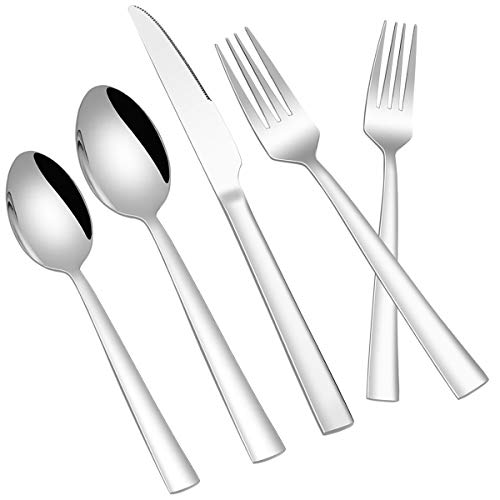 Flatware Set for 4, 20-Piece Set of Silverware, Stainless Steel Square Handle Cutlery Set, Knives Forks and Spoons Set for Home Restaurant, Mirror Polished, Dishwasher Safe
