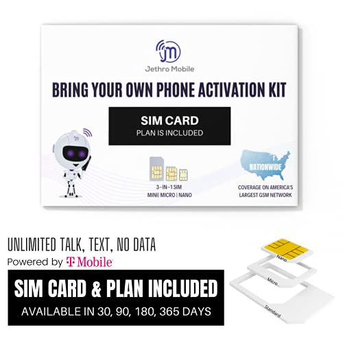 Jethro Mobile $25 Phone Plan for 90 Days - Unlimited Talk and Text and No Data, Perfect for Senior Cell Phones, (SIM Card Kit Included)